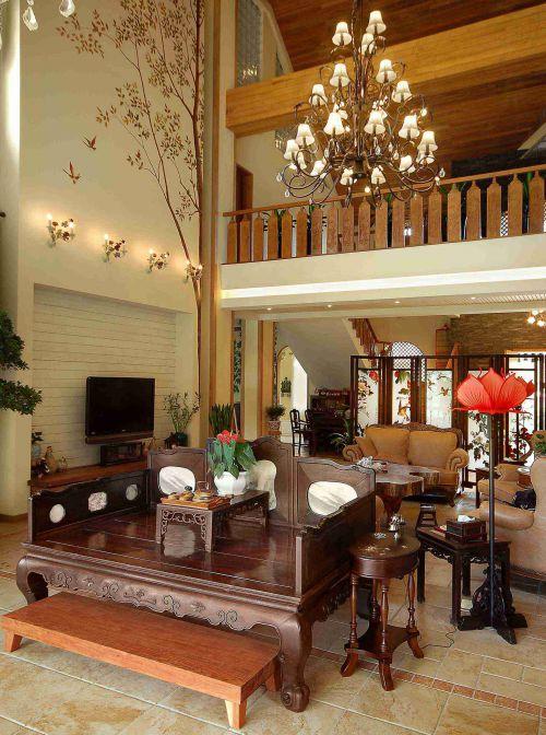 中式风格别墅客厅电视背景墙设计