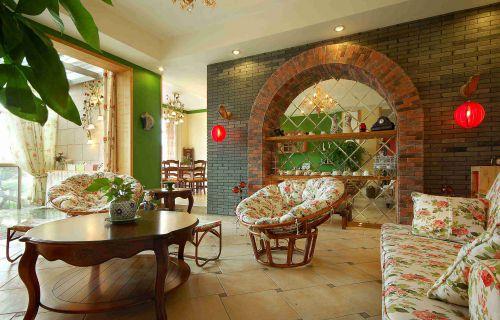 美式乡村风格客厅墙面装饰效果图