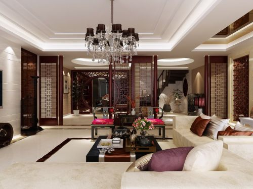 干净的新中式风格客厅装修效果图