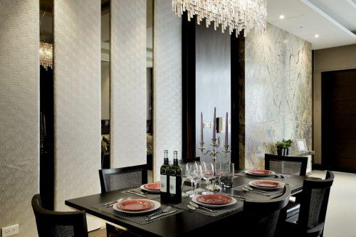 新中式风格优雅的黑色餐厅装修