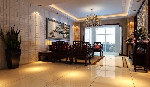 米色地面的古典风格玄关装修