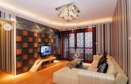 混搭风格客厅创意背景墙装修设计