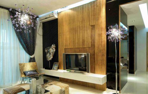 时尚混搭客厅创意电视背景墙效果图