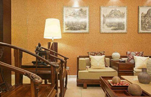 新中式风格沙发背景墙装修设计