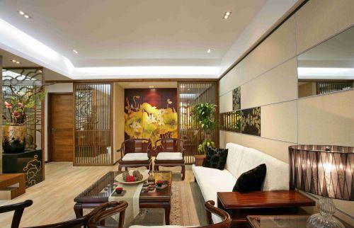 新中式风格客厅镂空隔断设计图