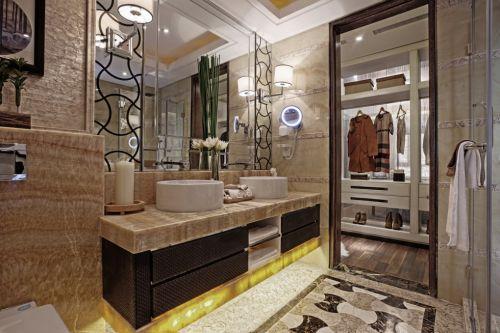 浅咖色的美式风格卫生间装修