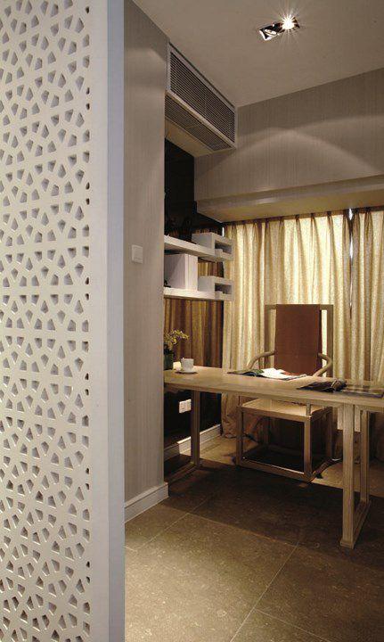 浅咖色新中式书房装修