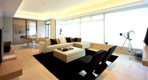 韩式风格客厅落地窗装饰设计效果图