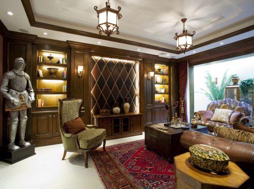 欧式古典客厅博古架效果图