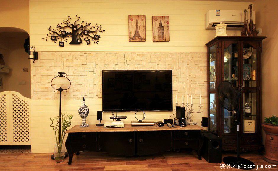 湖北电视�:Z�~Z�_美式小别墅客厅电视背景墙图片_装修之家装修效果图