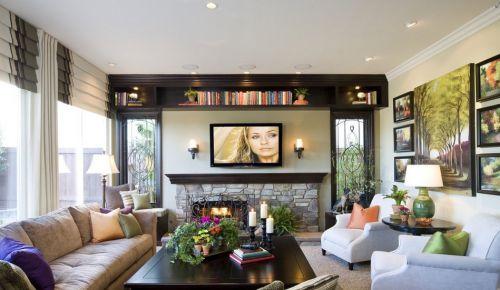 现代田园客厅电视背景墙装修效果图
