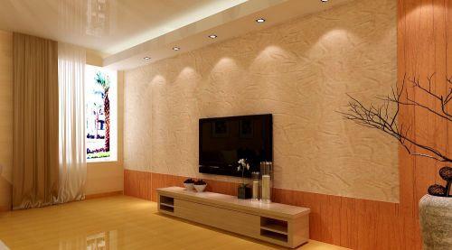 新婚两居室客厅电视背景墙设计出效果图