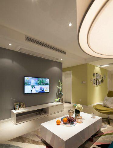 湖北电视�:Z�~Z�_新中式客厅电视背景墙墙绘效果图_装修之家装修效果图