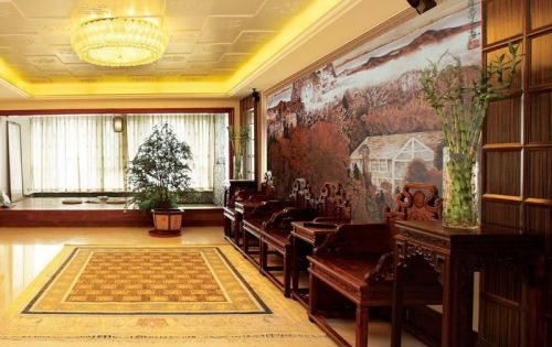 新中式裝修效果圖客廳吊頂圖片