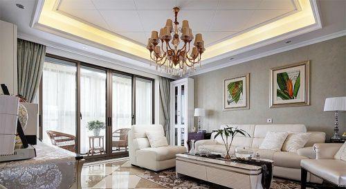 歐式風格三室兩廳客廳吊頂效果圖