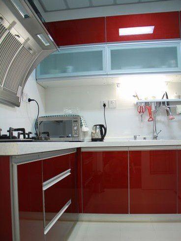 小户型厨房装修效果图 红色橱柜效果图