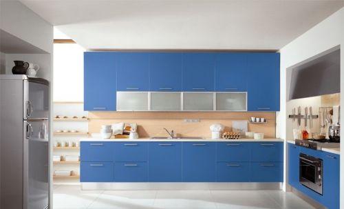 开放式厨房装修效果图 蓝色橱柜效果图