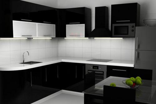 黑白简约厨房装修效果图 黑色橱柜效果图