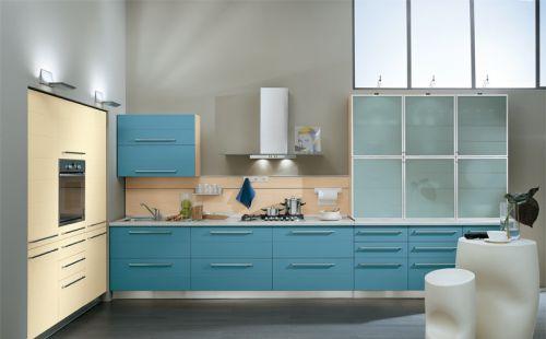 厨房装修 蓝色橱柜效果图