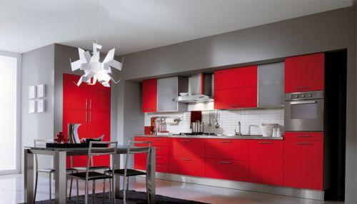 红色厨房橱柜效果图