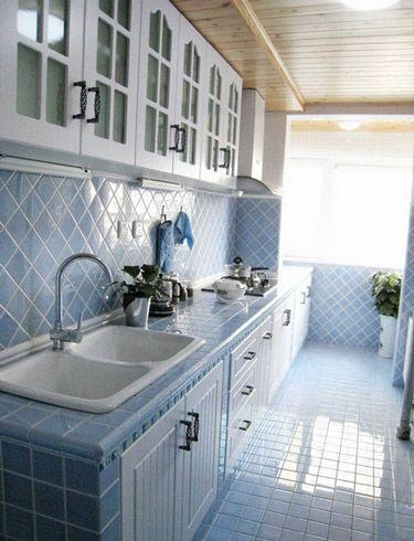 蓝色地中海厨房橱柜装饰设计图片