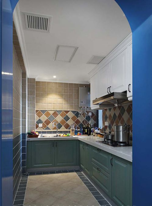 清新地中海风格厨房橱柜装修美图