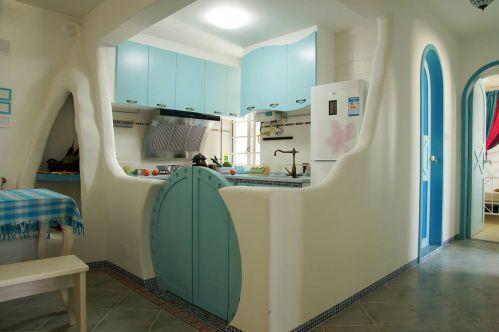 蓝色夏日地中海厨房布置效果图