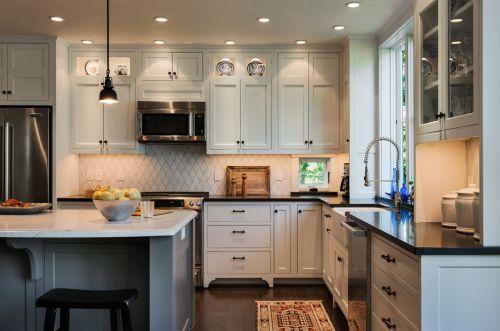美式风格清新白色·厨房橱柜装潢案例