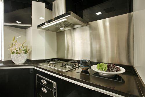 黑色雅致现代风格厨房橱柜设计图