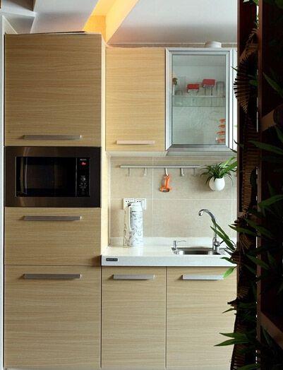 淡雅简约风格黄色厨房橱柜图片