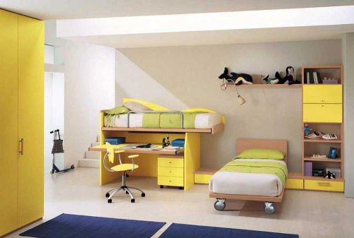明黄色调简约儿童房实用设计图片