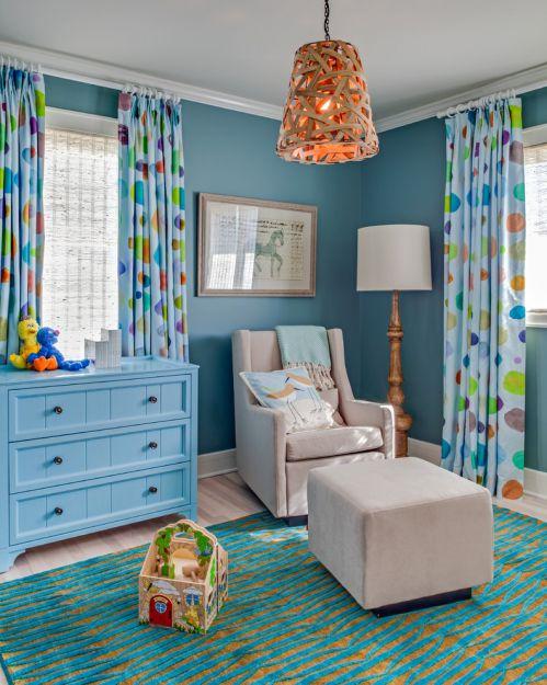 蓝色休闲美式儿童房装修图片