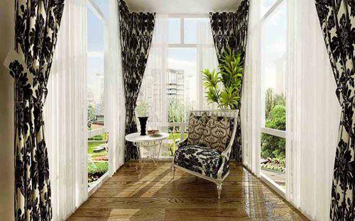 新古典风格黑白基调休闲阳台精致装潢