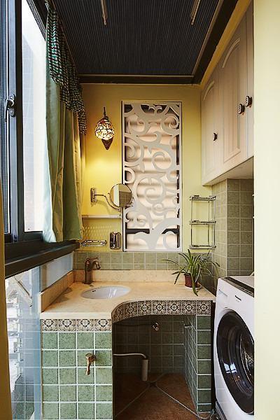 黄色东南亚风格阳台洗手台装潢案例