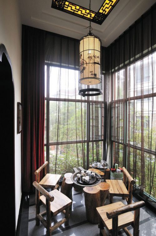 中式精美古典休闲阳台装修布置