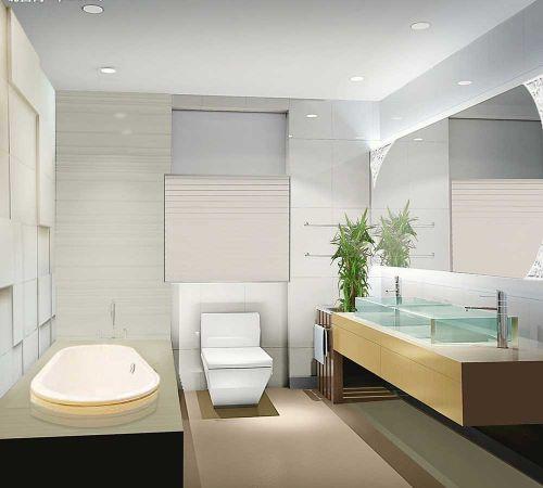 干净优雅简约风格卫生间设计装饰