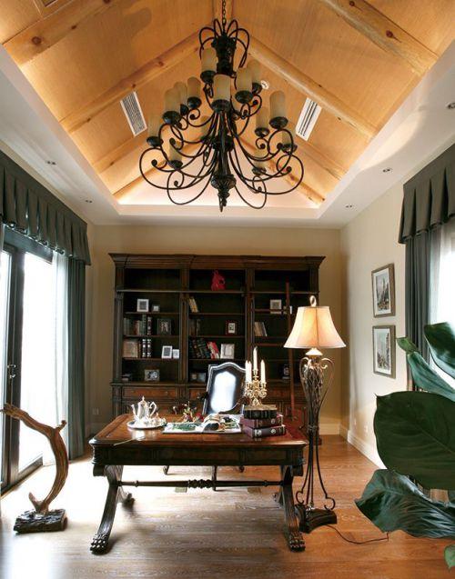 2016复古经典美式风格米色书房设计欣赏