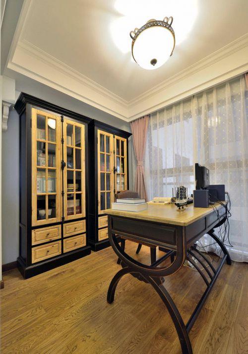 美式风格质感黑色书房装修图片