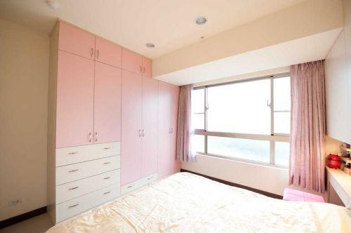 粉色简约风格卧室衣柜装修图片