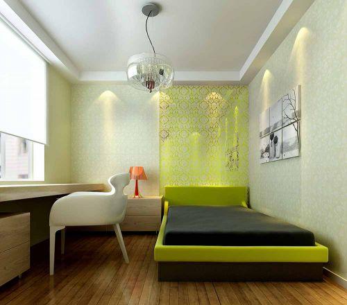 黄色舒适简约风格卧室设计图