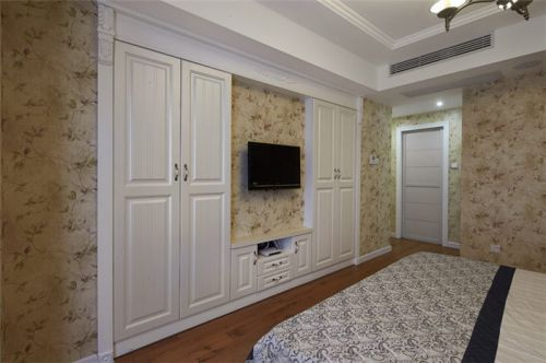 米色田园风格卧室背景墙设计案例