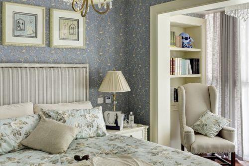 灰色田园创意碎花温馨卧室装饰图