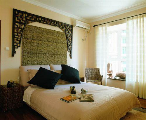 黄色复古新中式风格卧室图片赏析