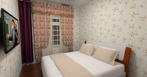 米色田园风格卧室装修图片