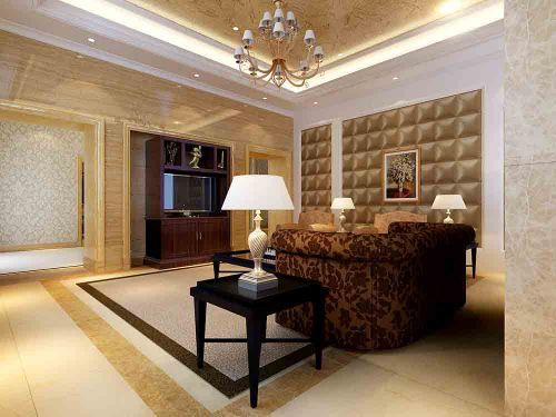 简欧黄色舒适客厅设计布置