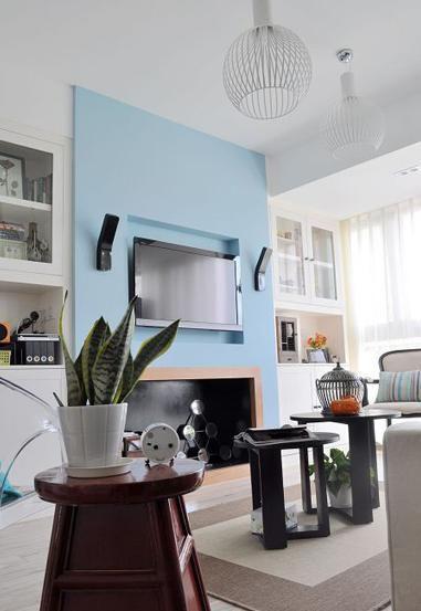 现代美式客厅壁炉设计