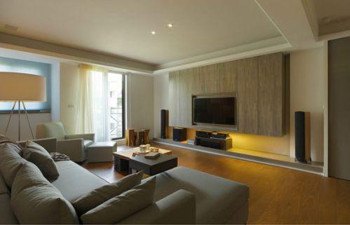 88平米简约日式风格客厅电视背景墙效果图