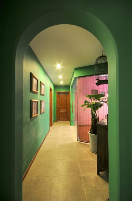 90平地中海风格客厅过道装修效果图