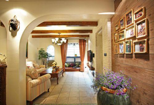 90平清爽地中海风格客厅过道设计