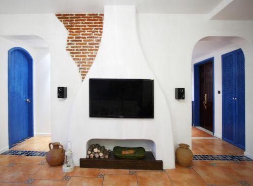 湖北电视�:Z�~Z�_89平简约地中海风格客厅电视背景墙效果图_装修之家装修效果图